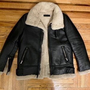 Zara Faux Leather/Shearling Jacket Size Small